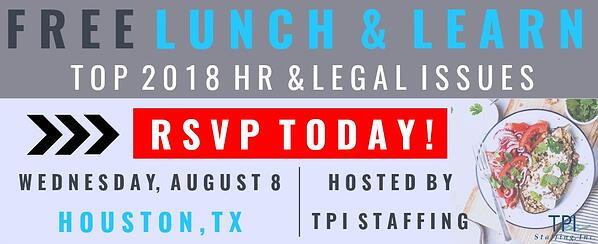 Lunch & Learn 2018 TPI Staffing RSVP